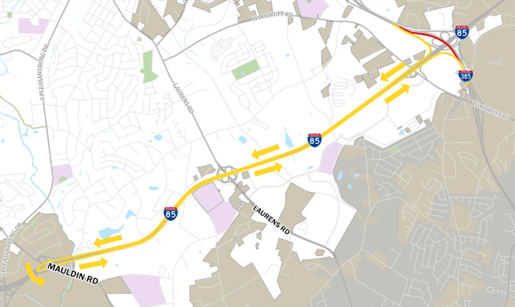 Map showing I-385 road closure with detour along I-85