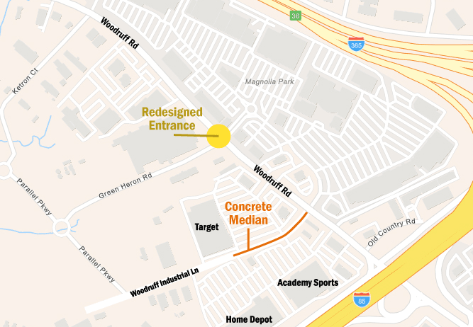Map showing location of Woodruff Road improvements