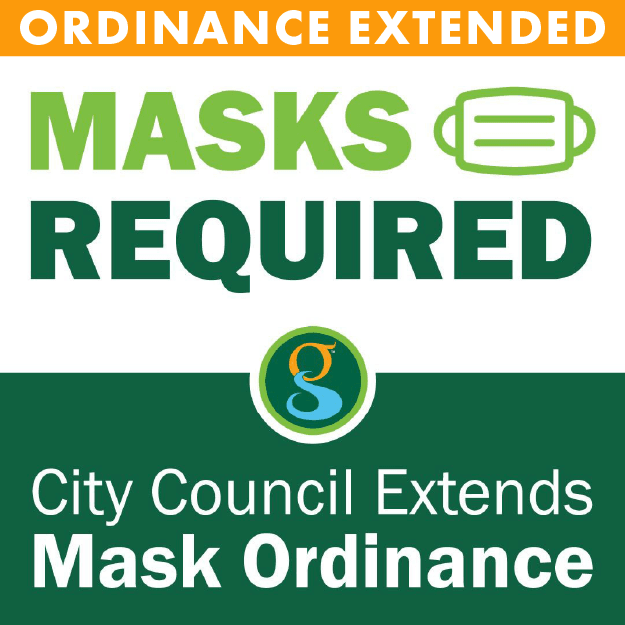 Graphic image showing a mask and words Mask Ordinance Extended