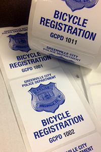 photo of bike registration stickers